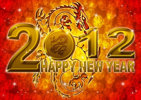 2012 Happy New Year Golden Chinese Dragon on Blurred Background photo