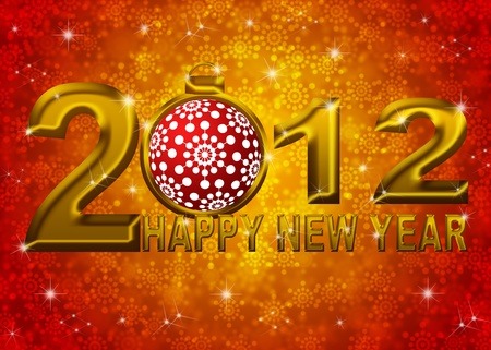 Gold 2012 Happy New Year Snowflakes Ornament on Blue Blurred Snow Background Stock Photo - 11303802