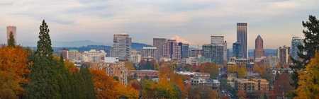 Portland Oregon City Skyline and Mount Hood in the Fall Panorama photo