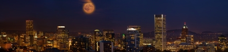 portland oregon: Moon Rise Over Portland Oregon City Skyline at Dusk Panorama