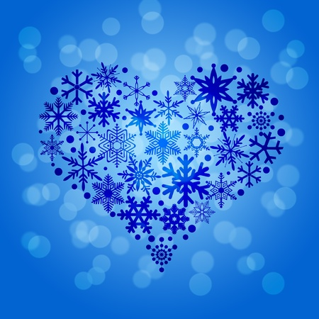 Christmas Snowflakes Heart Shape on Blue Blurred Background Illustration Stock Illustration - 11303805
