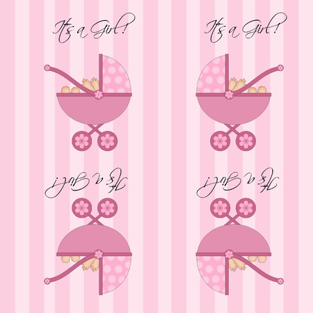 Its A Girl Pink Baby Pram Carriage Seamless Pattern Tile Background Illustration illustration