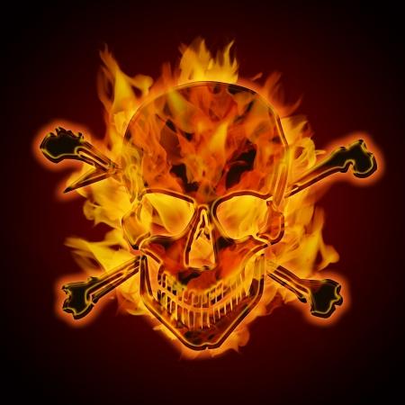 Fire Burning Flaming Metaal Schedel met Gekruiste knekels op donkere achtergrond Illustratie Stockfoto
