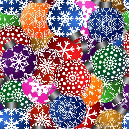 new year celebration: Colorful Christmas Tree Ornaments Seamless Tile Pattern Background Illustration