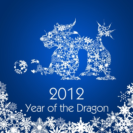 mythical festive: 2012 Chinese New Year Dragon with Snowflakes Pattern on Blue Background Stock Photo