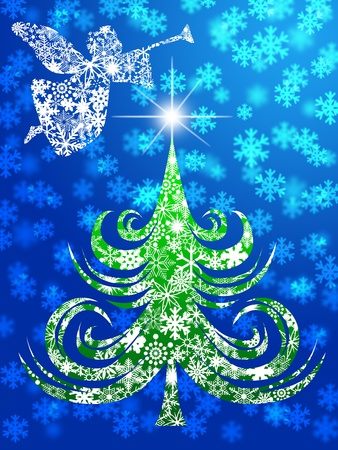 night before christmas: Snowflakes Angel with Trumpet Over Christmas Tree Illustration