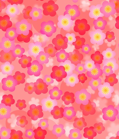 new year card: Spring Time Cherry Blossom Seamless Tile Pattern Background Illustration