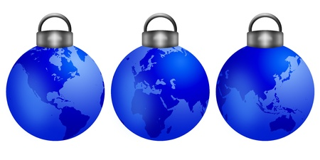 world peace: Three Christmas Tree Ornaments with World Map Isolated on White Background Illustration