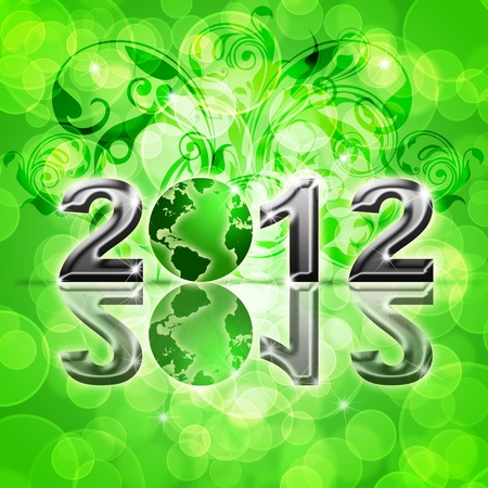 2012 Happy New Year World Globe on Blurred Background Illustration illustration