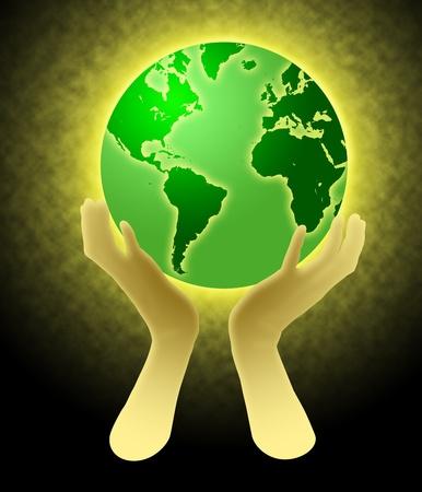 두 손에 들고 빛나는 세계 글로브의 그림
