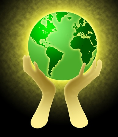 Two Hands Holding Glowing World Globe Illustration
