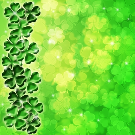 st  patricks: Lucky Irish Four Leaf Clover Shamrock Sparkles on Blurred Background Illustration