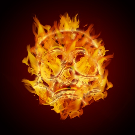 Fire Burning Flaming Skull on Dark Background Illustration illustration
