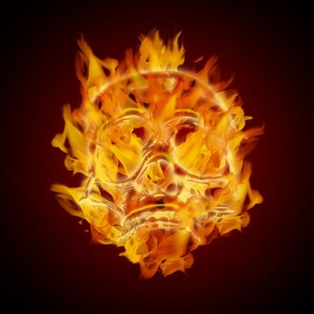 fire skull: Fire Burning Flaming Skull on Dark Background Illustration