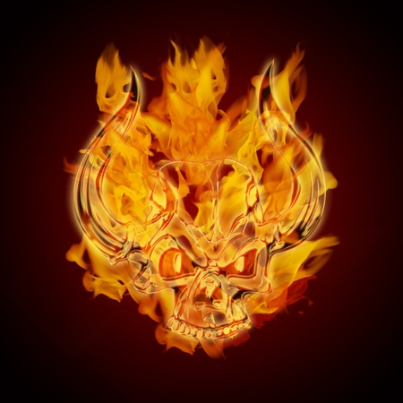 Fire Burning Flaming Skull with Horns on Dark Background Illustration Stok Fotoğraf