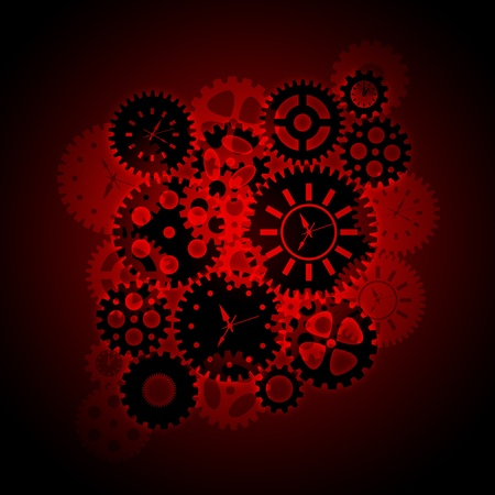 back to the future: Time Clock Gears Clipart Silhouette on Red Background Illustration Stock Photo