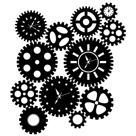 metal gears: Time Clock Gears Clipart Black SIlhouette Isolated on White Background Illustration