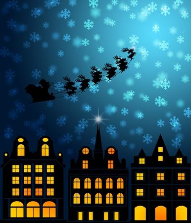 victorian christmas: Santa Sleigh Reindeer Flying Over Victorian Houses on Snowy Night Illustration Stock Photo