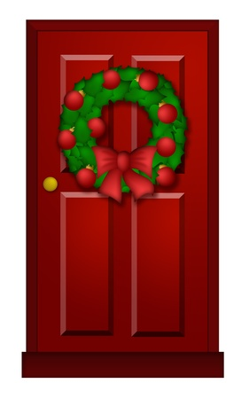House Red Door with Christmas Wreath Ornaments and Bow Illustration