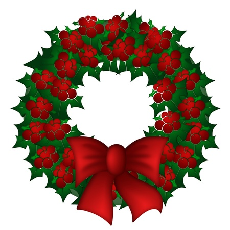 Holly Leaves and Red Berries Christmas Wreath Illustration Stock Illustration - 11266677