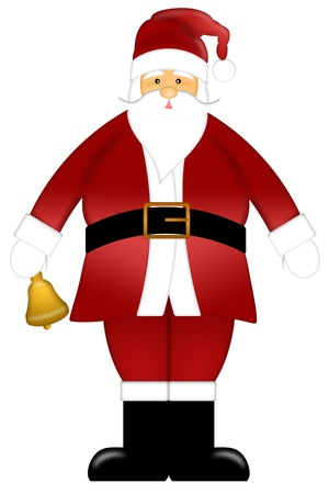 Santa Claus Ringing Bell Colored Clipart Isolated on White Background Illustration Stock Illustration - 11464473