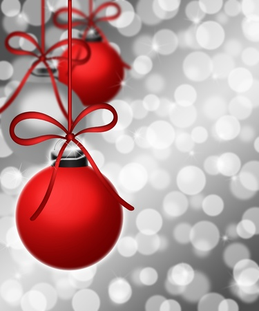 silver: Hanging Plain Ornaments on Blurred Silver Background Illustration
