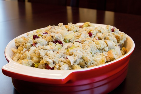 stuffing: Thanksgiving Day Turkey Dinner Stuffing in a Bowl Closeup Stock Photo