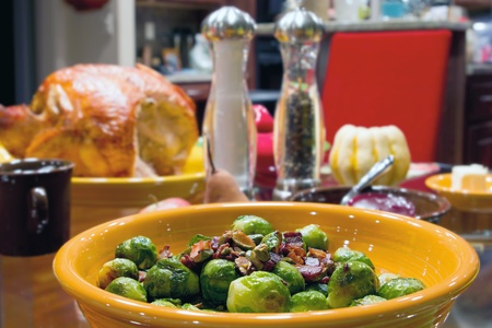Brussels Sprouts with Bacon and Pistachios Turkey Dinner Table Setting Stock Photo - 11464490