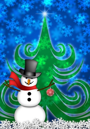 Snowman with Red Scarf and Ornament in Winter Snow Scene with Christmas Tree and Snowflakes Illustration illustration