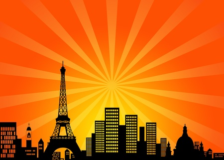 Paris France Downtown City Skyline Illustration