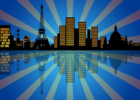 uptown: Reflection of New York Manhattan City Skyline at Night Illustration Stock Photo