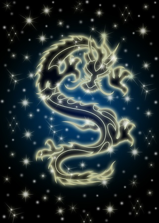 mythical festive: Zodiac Chinese Dragon Flying in the Celestial Starry Night Sky Illustration Stock Photo