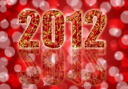2012 Happy Chinese Year of the Dragon Design Red Blurred Background Stock Photo - 11473981