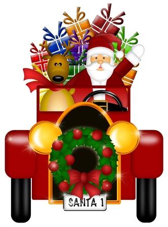 renos de navidad: Santa Claus y renos en la escena del invierno Nieve Conducir en coche de la vendimia rojo aislado en fondo blanco Ilustración Foto de archivo