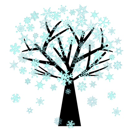 Winter Christmas Snowflakes on Tree Illustration Isolated on White Background Stock Illustration - 11473986