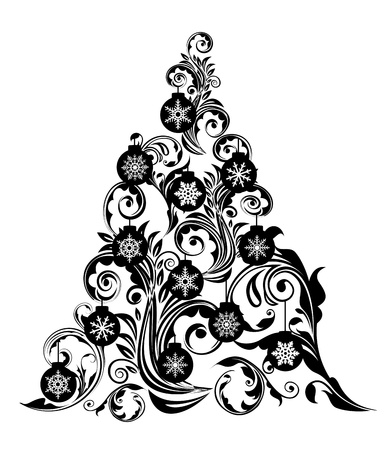 Christmas Tree with Swirl Leaves Design and Snowflakes Ornaments Clipart Illustration