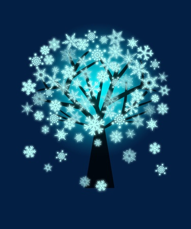 Winter Christmas Glowing Snowflakes on Tree Illustration on Blue Background Stock Illustration - 11473987