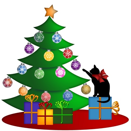 Christmas Tree with Ornaments and Cat Sitting on Presents Illustration illustration