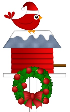 cardinal bird: Christmas Red Cardinal with Santa Hat Sitting on Birdhouse with Wreath Illustration