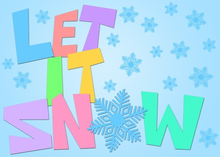 let on: Let It Snow Freehand Drawn Text with Snowflake Clipart in Pastel Color Illustration