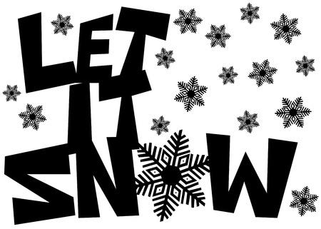 let on: Let it Snow Dibujado a mano alzada con el texto del copo de nieve dibujos aislados en blanco Foto de archivo