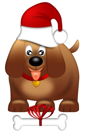 Cute Puppy Dog with Santa Hat and Bone Isolated on White Background Illustration illustration