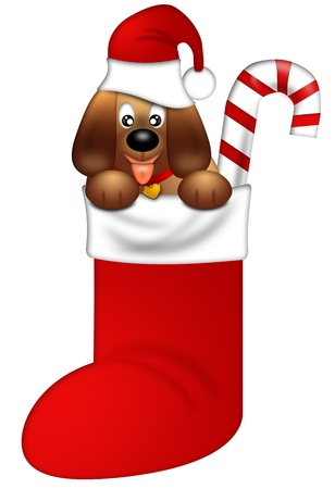 Cute Puppy Dog with Santa Hat in Stocking Isolated on White Background Illustration Stock Photo