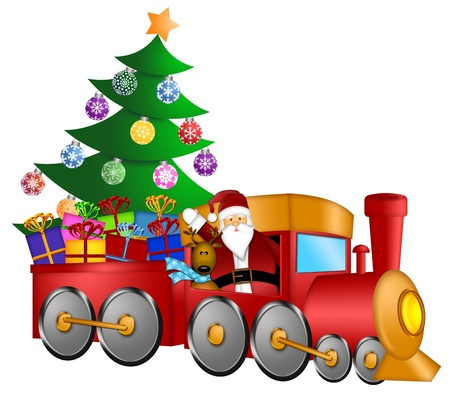 christmas tree illustration: Santa Claus and Reindeer Delivering Gifts in Red Train with Christmas Tree Illustration