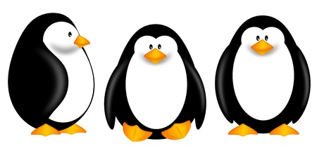 background antarctica: Cute Cartoon Penguins Isolated on White Background Clipart Illustration Stock Photo