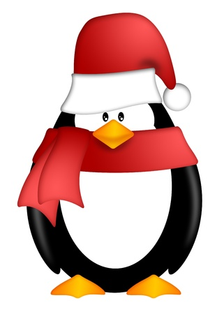 cartoon penguin: Cute Cartoon Penguin with Santa Hat and Red Scarf Illustration Isolated on White Background Stock Photo