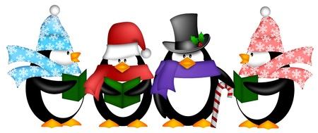 pinguins: Penguins mignon chants de No�l Chansons de No�l avec �charpe et Cartoon Illustration Hat