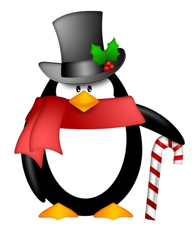 holly day: Cute Cartoon Penguin with Top Hat Red Scarf and Candy Cane Illustration Isolated on White Background