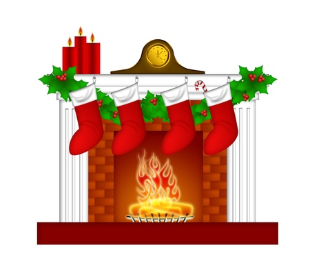 Fireplace Christmas Decoration with Garland Stocking Pillar Candles and Mantel Clock Illustration illustration