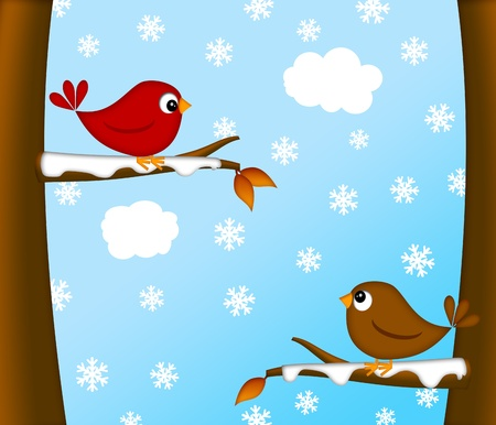 snowing: Christmas Red Cardinal Bird Pair Sitting on Tree Branches Winter Scene Illustration